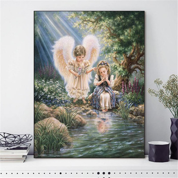 HUACAN Cross Stitch Embroidery Angel Girl Portrait Cotton Thread Painting DIY Needlework DMC Kits 14CT Home Decoration - discount item  40% OFF Arts,Crafts & Sewing