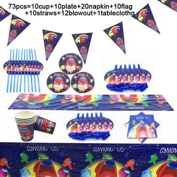 73PCS/LOT Disposable Tableware For Birthday Party Supplies Game Among Us Theme Party Supplies Decoration Paper Napkin Plate Cups space party theme disposable tableware paper cups napkins tablecloths birthday decorations for children party supplies