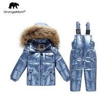 30 ℃ orangemom רוסיה חורף מעיל עבור בנות בני מעילים & הלבשה עליונה, חם ברווז למטה ילדים ילד הבגדים הנוצצים דובון סקי חליפת שלג