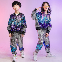 Kid Hip Hop Clothing Sequined Coat Jacket Loosed Silver Pants For Girls Boys Street Jazz Dance Costume Performan Clothes Wear