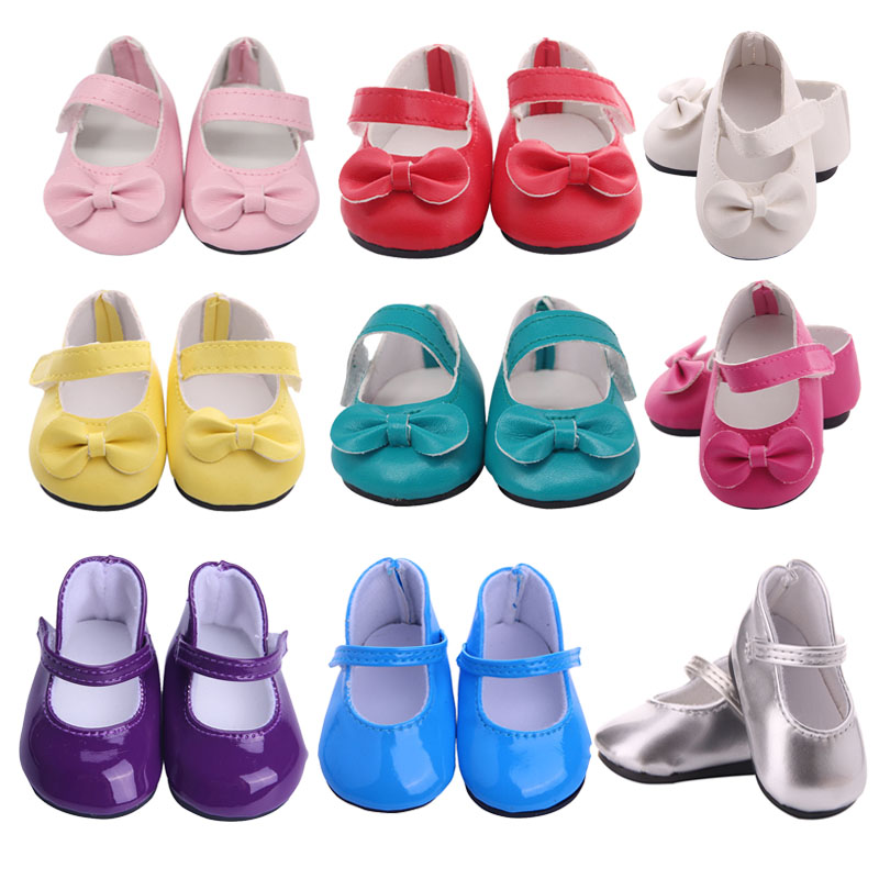 Doll Shoes Bow-knots 7 Cm Cute Sequins Shoes For 18 Inch American&43 Cm Baby New Born Doll Generation Girl`s Toy  1/3 Blyth Doll