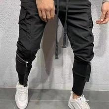 Мужские уличные штаны, черные штаны-шаровары, светильник, мужские панковские штаны с лентами, повседневные обтягивающие штаны для бега, Мужские штаны на молнии в стиле хип-хоп