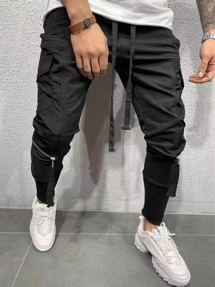 2019 Men Streetwear Pants Black Harem Pants Light Men Punk Pants Ribbons Casual Slim Jogger Pants Men Hip Hop Zipper Trousers