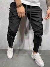 2019 мужчины уличная одежда брюки черный гарем брюки легкие мужские панк брюки ленты повседневные тонкие джоггеры брюки мужские хип хоп молния брюки