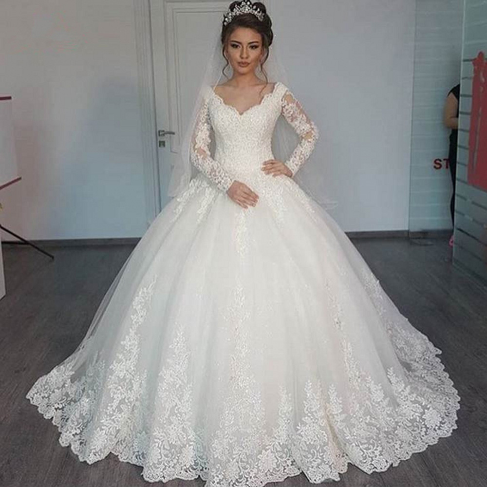 Gorgeous Ball Gown Luxury Wedding Dress Boho Long Sleeves Bride Dresses Custom Made Trouwjurk Plus Size Vestido De Noiva Sereia