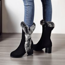 Autumn and winter size yard suede rabbit fur women's boots comfortable thick heel middle heel warm wool boots medium boots(China)