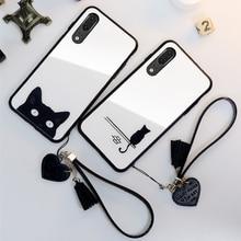 For Samsung Galaxy A90 A80 A70 A60 A50 Case & Strap Glass Hard Cover M40 Simple Cute Cat lanyard funda