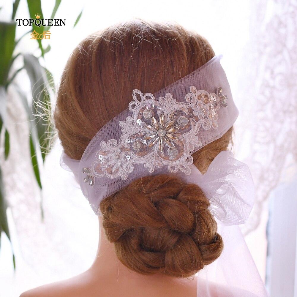 TOPQUEEN WS04 Rhinestone Wedding Veil Headband Bridal Headpieces Wedding Hair Tiara Silver Bridal Hair Accessories