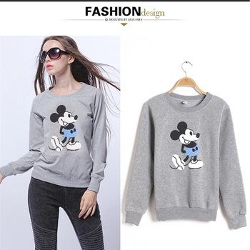 Disney Mickey mouse 2019 jesień zima cienki sweter uczeń kobiet bluza wokół szyi koszula damska na co dzień koszula z długimi rękawami tanie i dobre opinie Aktywny Poliester Dzieci Pasuje prawda na wymiar weź swój normalny rozmiar Bluzy Unisex Cartoon Pełna REGULAR