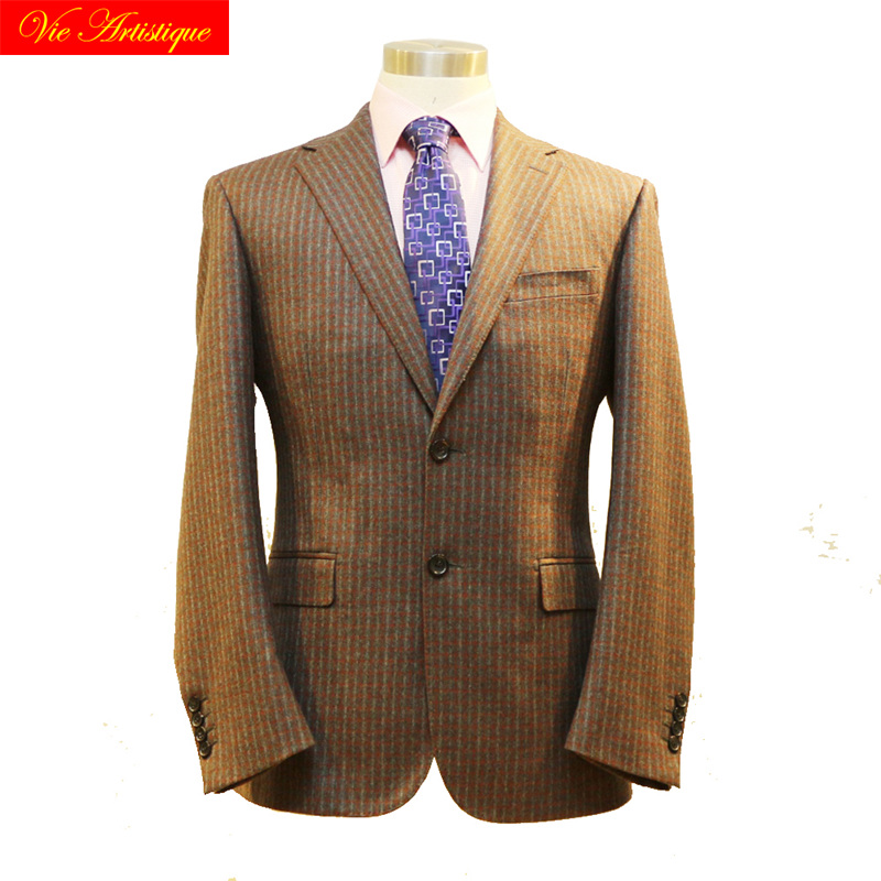 Custom Tailor Made Men's Bespoke Suits Business Formal Wedding Ware Bespoke 2 Piece Jacket Coat Pant Coffee Window Plaid Wool