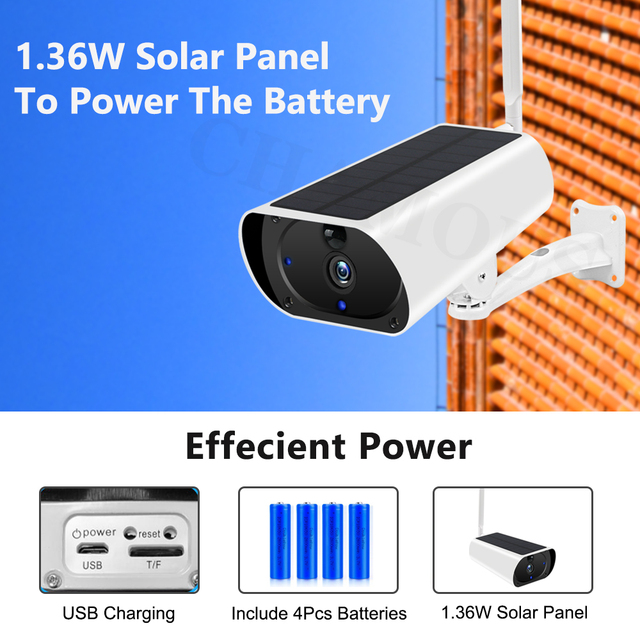 4G LTE Camera Solar Outdoor 1080P HD Wireless 3G SIM Card Camera CCTV Security Surveillance Built-in Rechargeable Battery 3