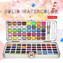 SamiArt 90 цветов сплошной набор акварельных красок базовый Neone блеск водная краска для рисования художественные краски принадлежности