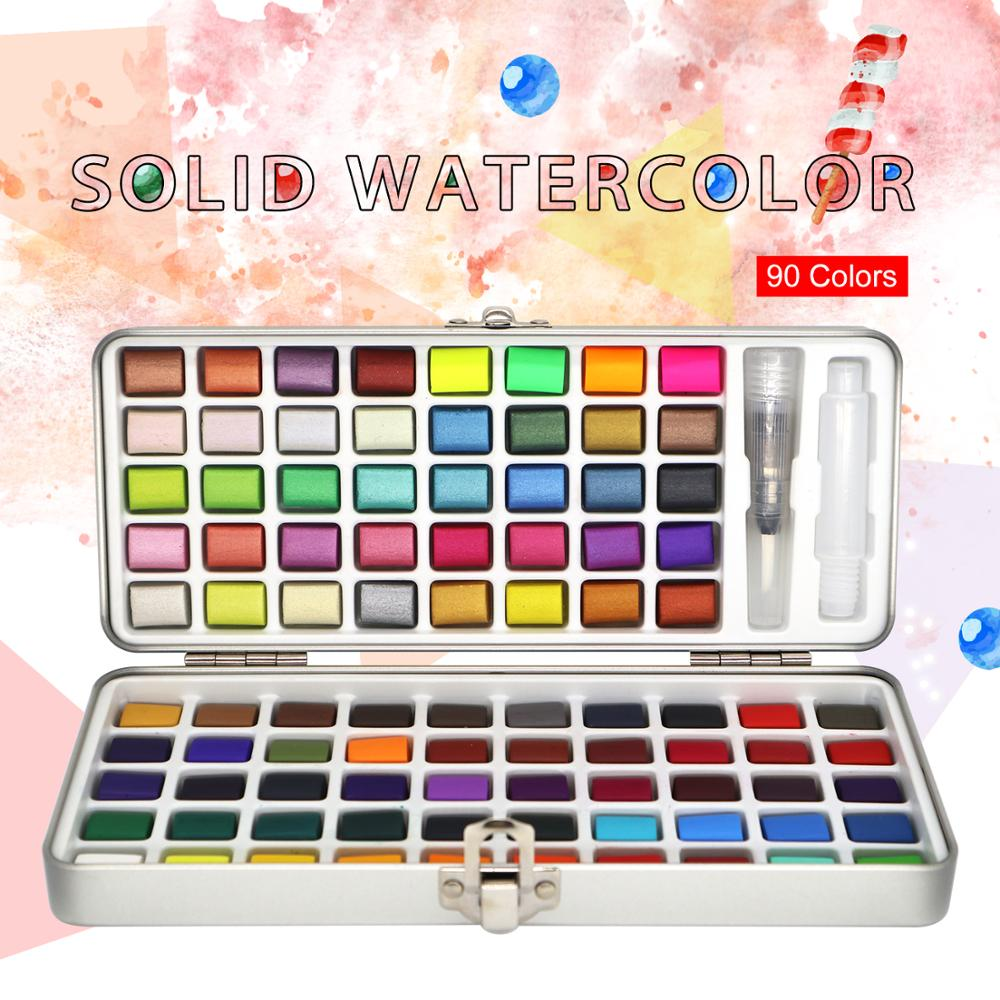 SamiArt 90Color Solid Watercolor Set Basic Neone Glitter Watercolor Paint For Drawing Art Paint Supplies