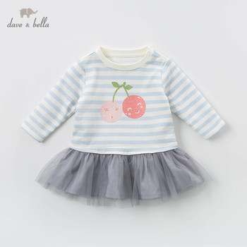 DBZ13682-2 dave bella spring baby girl's princess striped mesh dress children fashion party dress kids infant lolita clothes image