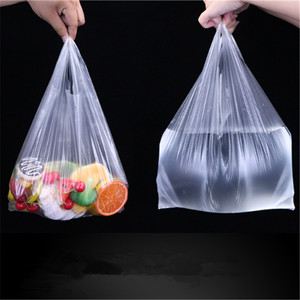 100 Pcs/pack Transparent Bags Shopping Bag Supermarket Plastic Bags With Handle Food Packaging 15-26cm/20-30cm/24-37cm/28-48cm
