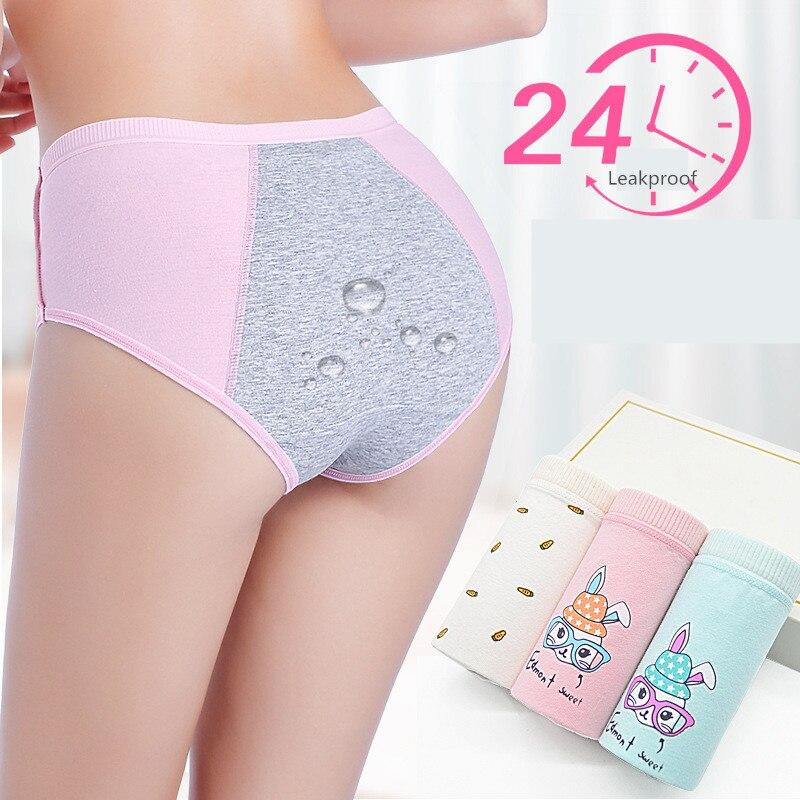 3 pçs/lote à prova de vazamento período menstrual calcinha feminina à prova de vazamento algodão fisiológico cueca senhoras dos desenhos animados impressão briefs menina