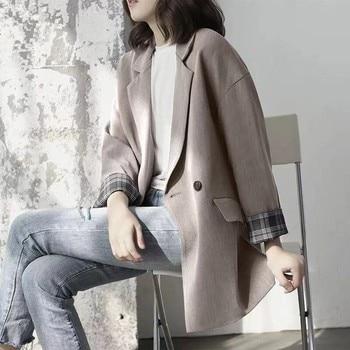 Fashion New Spring Autumn  Suit Jacket Ladies Korean Version Of The British Style Work Ol Casual Retro Chic Slim Black Gray Slim 1