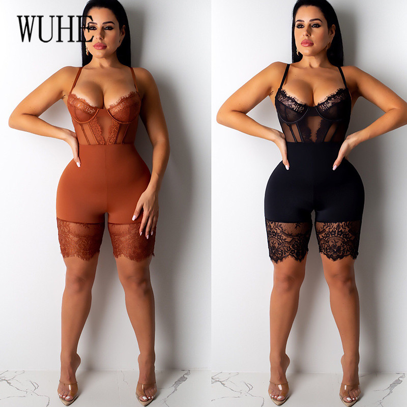 H36ae301721284f3d9dfc257793980899W - WUHE Lace Patchwork Sexy Spaghetti Strap Jumpsuits Women Off Shoulder Sleeveless Elegant Bodycon Bandage Party Short Playsuits