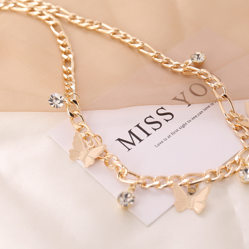 Bacolod Beauty Crystal Women S Choker Necklaces Gold Color Fashion Birthday Jewelry Thick Long Chain Butterfly Party Necklace Shop The Nation