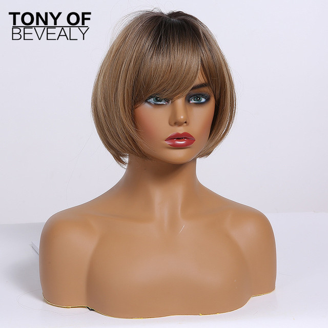 Short Straight Ombre Brown Blonde Synthetic Wigs With Bangs for Women bobo Hairstyle Cosplay Heat Resistant Natural Hair Wigs