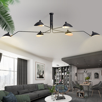 Modern Long Swing Arm Chandelier Adjustable Spider Chandeliers Ceiling Loft Lustre Living Room Bedroom Black Light Fixtures