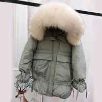 2020 Women's Winter White Duck Down Jackets Medium Long Slim Coats Big Natural Raccoon Fur Hooded Warm Parkas Outwear