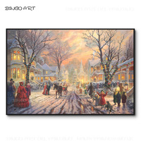 Excellent Artist Hand painted Top Quality A Victorian Christmas Landscape Oil Painting Handmade Vivid Colors Christmas Best Gift