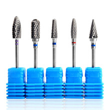 1pc 블루 네일 콘 팁 텅스텐 스틸 드릴 비트 전기 큐티 클 클린 로터리 매니큐어 페디큐어 그라인딩 헤드 샌더 도구