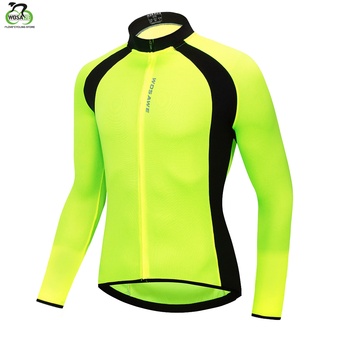 WOSAWE Breathable Mesh Fabric Cycling Jacket Full Zipper Chaqueta Back Pockets Reflective Running Fluorescent Sports Bike Jacket