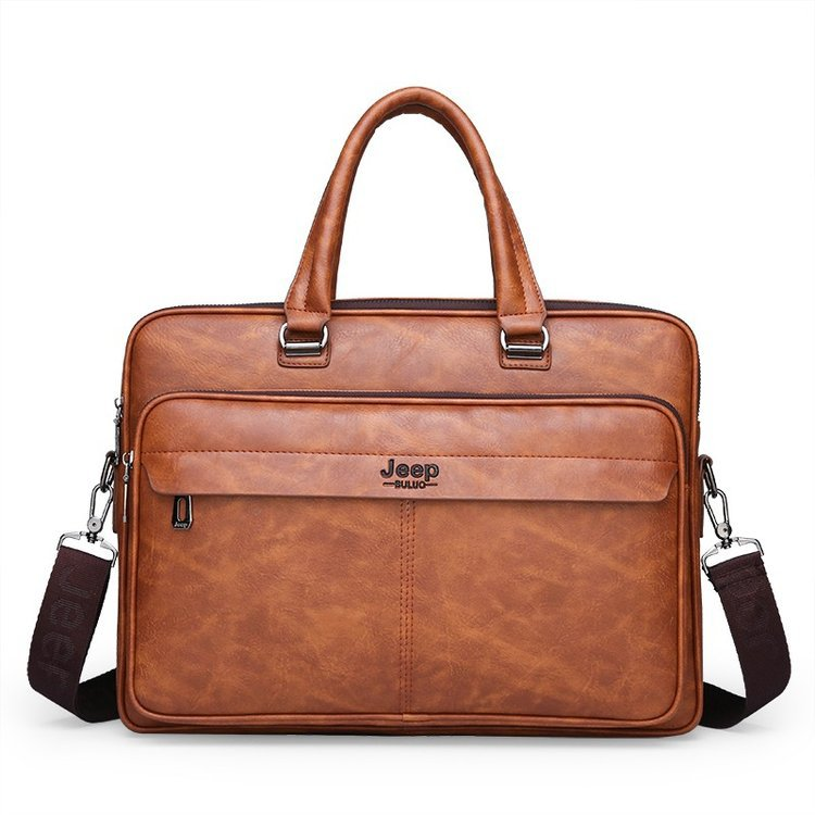 New Luxury Leather Business Men's Briefcase Vintage Male Shoulder Bag Men Messenger Bag Boy Casual Tote Computer Bag 14 Inch