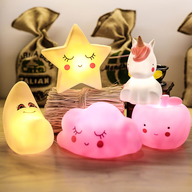 LED Night Light Silicone Animal Star Moon Cloud Apple Unicorn Cartoon Lamp For Children Kids Baby Xmas Gift Bedroom Living Room