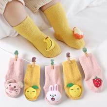 Baby Socks Anti-Slip Toddler Warm Boys Winter Kids Cartoon Cute Plush Fruit Soft Spring