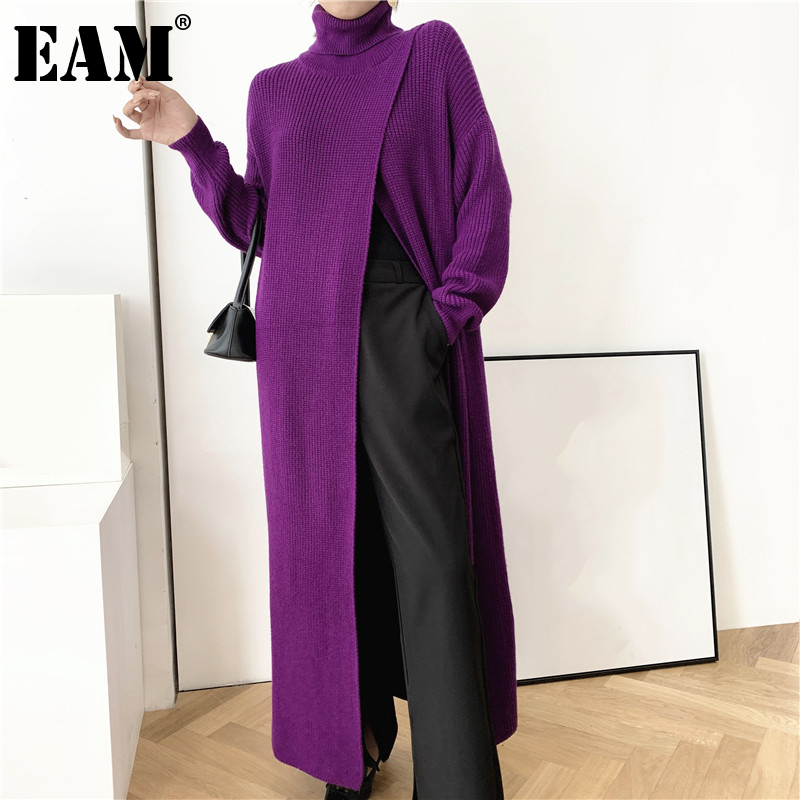 [EAM] Vent Long Knitting Sweater Loose Fit Turtleneck Long Sleeve Women Pullovers New Fashion Tide Autumn Winter 2021 1DA357