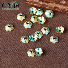 1pcs 9mm Zinc Alloy Green Flower Spacer End Beads Caps Charms For Jewelry Making Bracelet Accessories 958(China)
