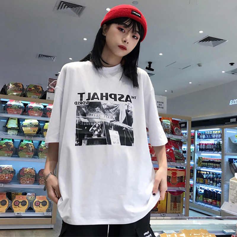 Thương hiệu Mới Dạo Phố hip-hop mùa hè Áo thun oversize nữ cotton Plus kích thước Tee Nữ Tay Ngắn Nữ Áo Thun Nữ