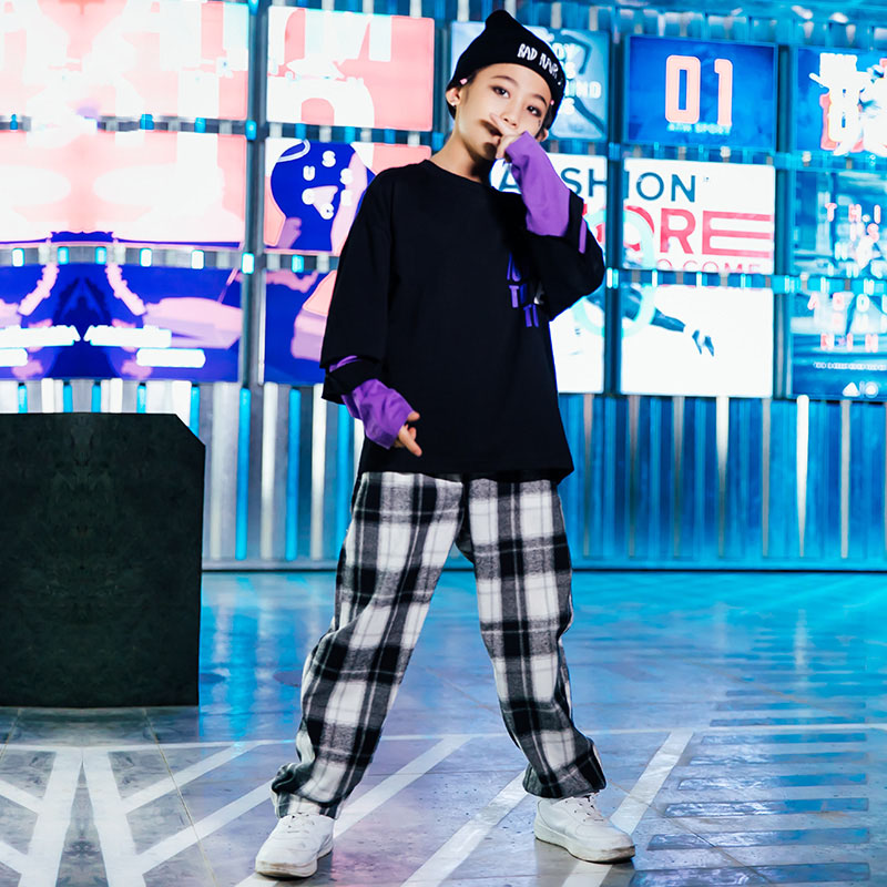 Jazz Dance Costume Kids Printing Hip Hop Street Dance Rave Outfit Boys Dancing Practice Wear Loose Performance Clothing DC3286