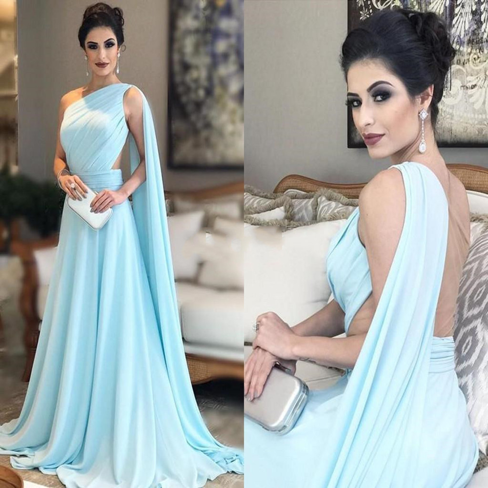 One Shoulder Light Sky Blue Evening Dresses Pleated Chiffon Illusion Back Floor Length Saudi Arabic Prom Dresses Formal Gowns Fa