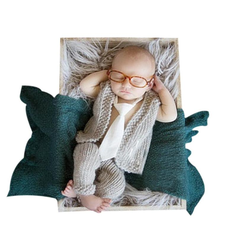 Infant Boys Girls Photography Clothing Solid Hand Knitted Lovely Vest+Pants