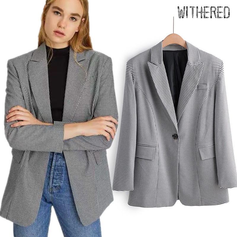 Withered England Style Vintage Plaid Oversize Boyfriend Blazer Feminino Blazer Women Blazer Mujer 2019 Women Blazers And Jackets