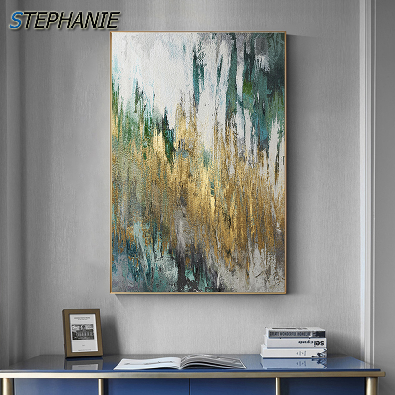 Abstract Green Yellow Paint Painting Modern Canvas Art Fashion Wall Pictures For Living Room Big Green Posters Prints