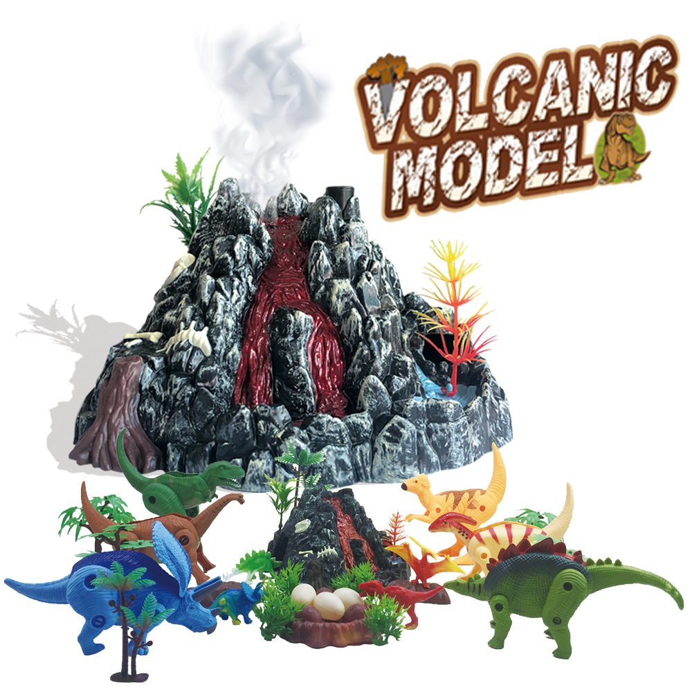 Spray Volcano Model With Light Simulation Scene Experiment Action Toy Figure Kids Toys For Boys Educational Toys For Children