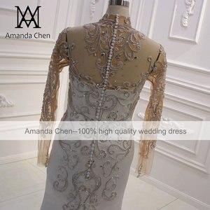 Image 4 - Vestido boda عالية الرقبة كم طويل كريستال حورية البحر فستان بأكمام طويلة