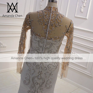 Image 4 - vestido boda High Neck Long Sleeve Crystal Mermaid Wedding Dress Long Sleeves