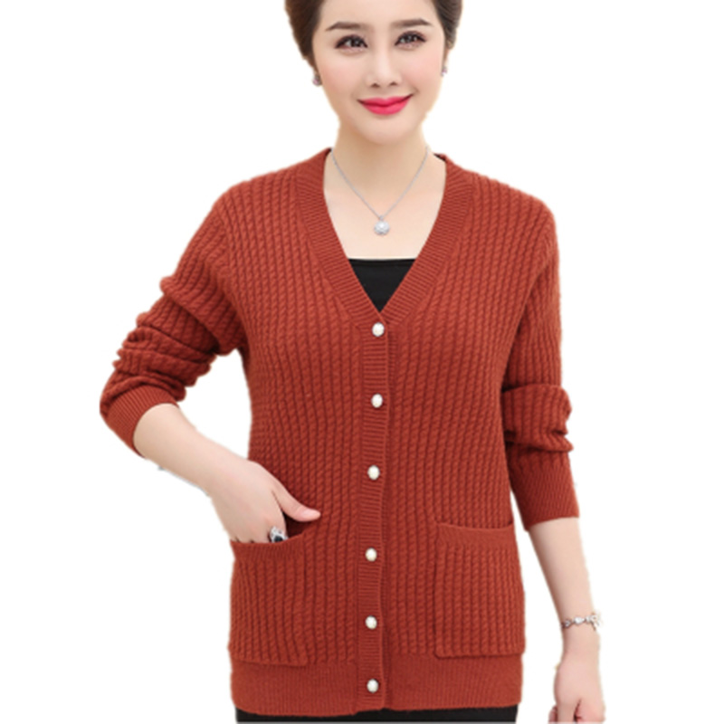 Spring Autumn Sweater Coat New Fashion Middle-aged Mom Wool  Cardigan Plus Size Long Sleeve Knit Cardigan Female Outerwear Tops