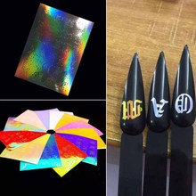 13pc Alphabet Nail Sticker Letters Holographic Strip Tape  Reflective Adhesive Foils Laser Art Decal Stickers