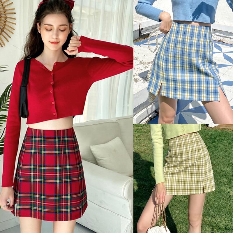 Spring Summer Skirts Womens Sexy Plaid Skirt Women Fashion Mini Skirt Bodycon Elegant High Waist Women Skirt Jupe Femme Faldas