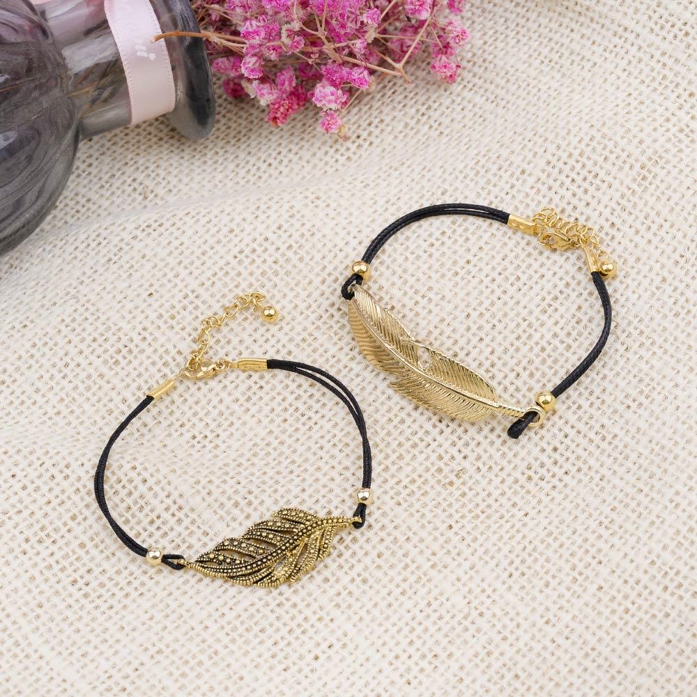 Handmade Adjustable Women 39 s Rope Bracelets Black Leather Retro Golden Zinc Alloy Leaf Charm Bracelet Lady Custom Wholesale BC359 in Charm Bracelets from Jewelry amp Accessories