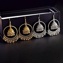 Indian Jhumka Jewelry Gold Sliver Small Bells Drop Tassel Earrings Women Girls Boho Ethnic Big Round Circle Dangling Earring