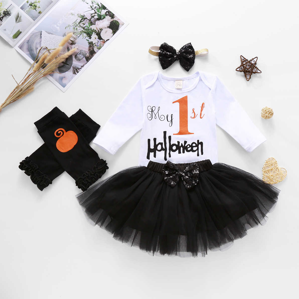 Halloween Baby Girl Outfits 1st Birthday Pumpkin Long Sleeve Romper Tulle Tutu Skirt Headband Leg Warmers 4pcs Clothes Set