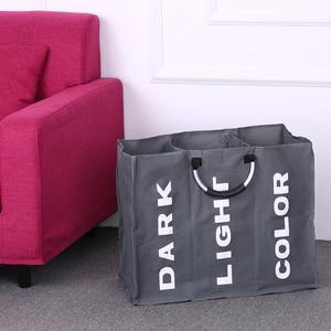 Image 1 - Bolsa plegable para la colada, cesto grande para ropa sucia, clasificador de tela Oxford, bolsa de ropa sucia con mango de aluminio